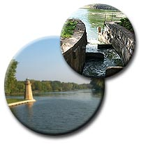 The Fox River near, Fish ramp at dam